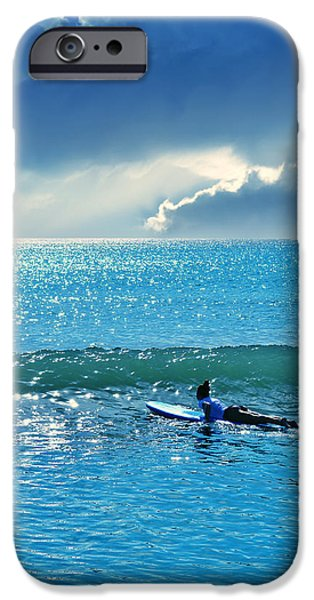 Surfer Art iPhone Cases - Here Comes The Sun iPhone Case by Laura  Fasulo