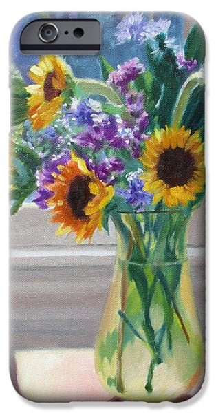 Business iPhone Cases - Here Comes the Sun- Sunflowers by the Window iPhone Case by Bonnie Mason