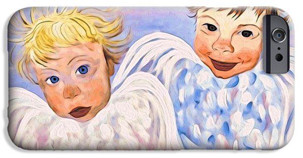 Angel Blues iPhone Cases - Here Comes Trouble iPhone Case by Phyllis Kaltenbach