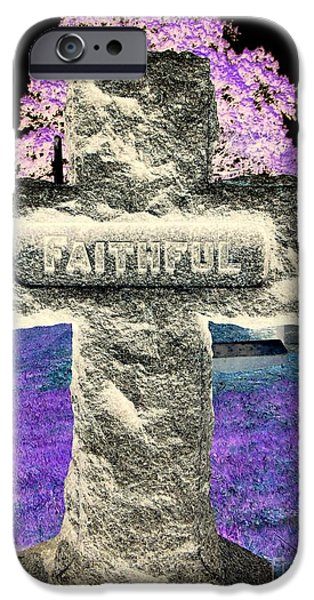 Cemetary iPhone Cases - Here Lie The Faithful iPhone Case by Ed Weidman