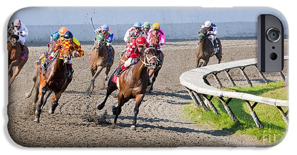 Horse Racing iPhone Cases - Here they come iPhone Case by Chris Dutton