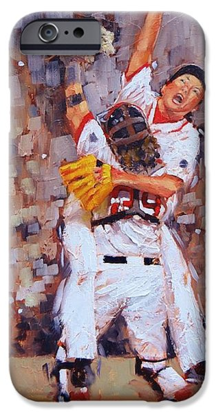 Baseball Glove iPhone Cases - Here We Come iPhone Case by Laura Lee Zanghetti
