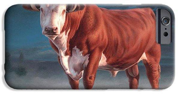 Farm Animals Paintings iPhone Cases - Hereford bull iPhone Case by Hans Droog