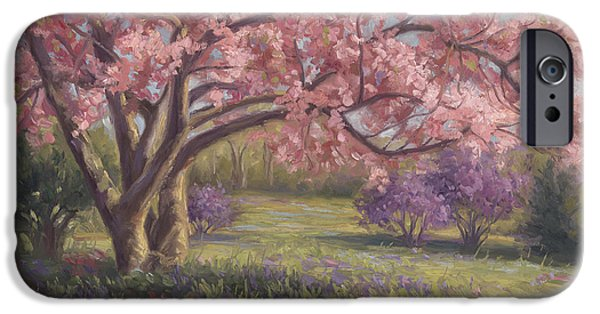 In Bloom Paintings iPhone Cases - Heres The Spring iPhone Case by Lucie Bilodeau