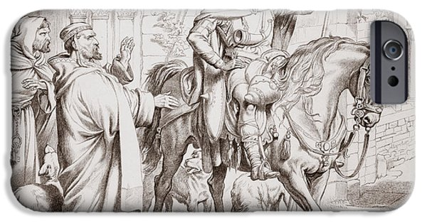 The Horse iPhone Cases - Hereward informs his uncle the Prior that he is about to be outlawed iPhone Case by Henry Courtney Selous