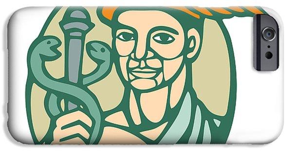 Linocut iPhone Cases - Hermes Holding Cadaceus Woodcut Linocut iPhone Case by Aloysius Patrimonio