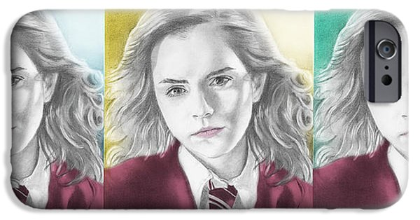 Hermione Granger iPhone Cases - Hermione Granger - 3up One Print iPhone Case by Alexander Gilbert