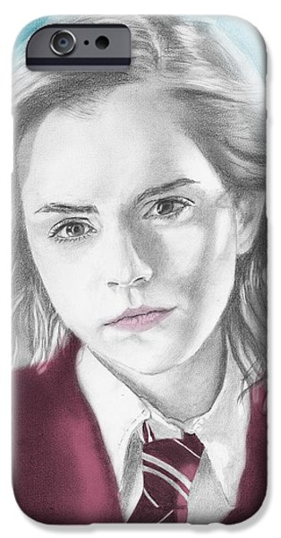 Hermione Granger iPhone Cases - Hermione Granger - Individual Blue iPhone Case by Alexander Gilbert