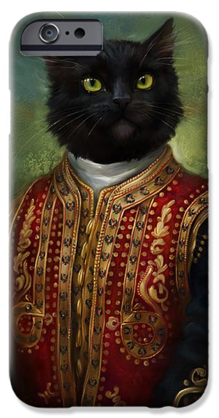 Cat Reflection iPhone Cases - Hermitage Court Moor in casual uniform iPhone Case by Eldar Zakirov