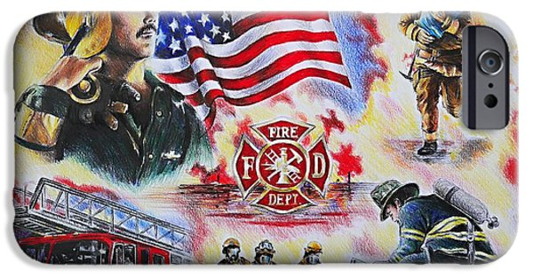 Uniform Drawings iPhone Cases - Heroes collection American Firefighter iPhone Case by Andrew Read