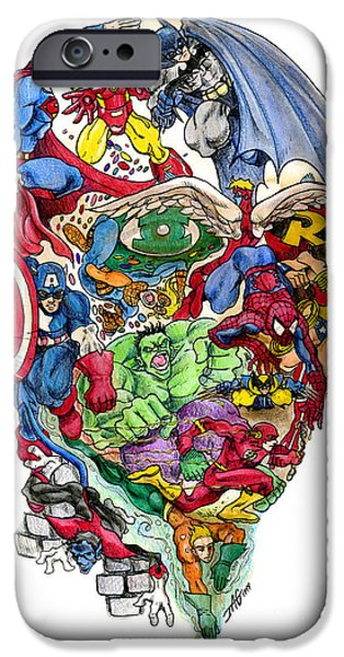 Comics iPhone Cases - Heroic Mind iPhone Case by John Ashton Golden