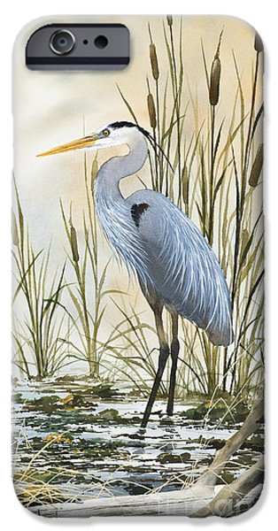 Stretched Canvas iPhone Cases - Heron and Cattails iPhone Case by James Williamson