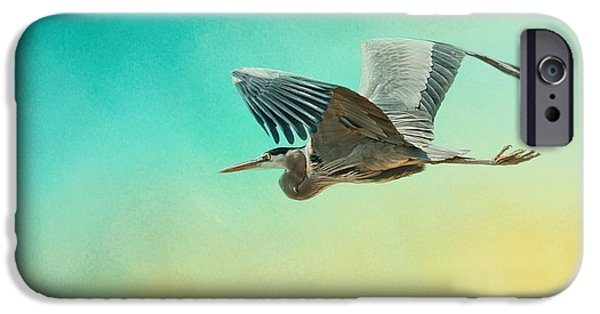 Sea Birds iPhone Cases - Heron At Sea iPhone Case by Jai Johnson