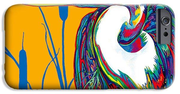 Brilliant Paintings iPhone Cases - Heron iPhone Case by Derrick Higgins