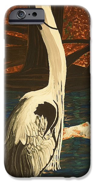 Smokey Mountains Paintings iPhone Cases - Heron in the Smokies iPhone Case by BJ Hilton Hitchcock