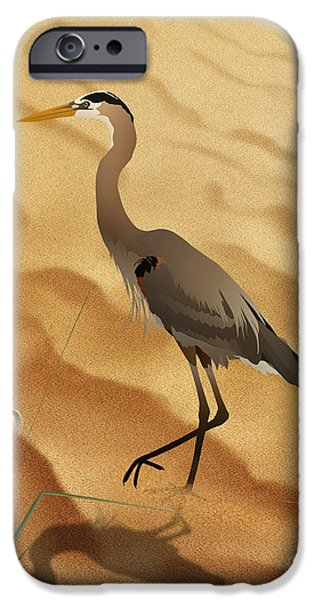 Sand Dunes Mixed Media iPhone Cases - Heron On Golden Sands iPhone Case by Bedros Awak