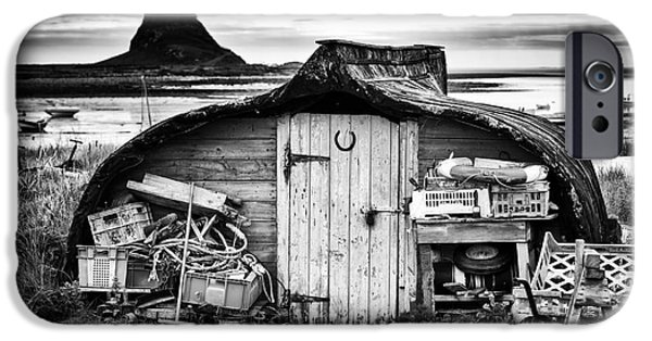 Shed iPhone Cases - Herring boat hut Lindisfarne Monochrome iPhone Case by Tim Gainey