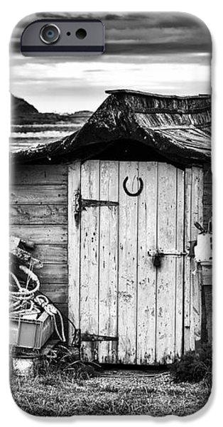 Herring boat hut Lindisfarne Monochrome iPhone Case by Tim Gainey