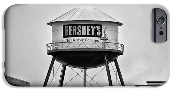 Hershey iPhone Cases - Hersheys Water Tower in Black and White iPhone Case by Bill Cannon