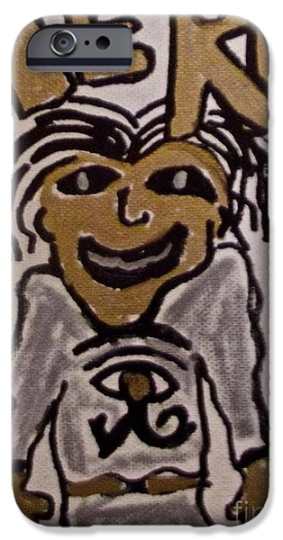 Horus Paintings iPhone Cases - Heru Drawing iPhone Case by Tony B Conscious