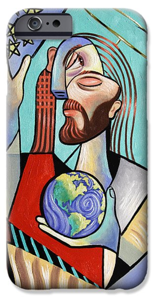 Jesus Digital iPhone Cases - Hes Got The Whole World In His Hand iPhone Case by Anthony Falbo