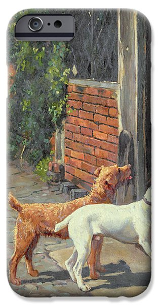 House Pet Paintings iPhone Cases - Hesitation iPhone Case by Alfred Duke