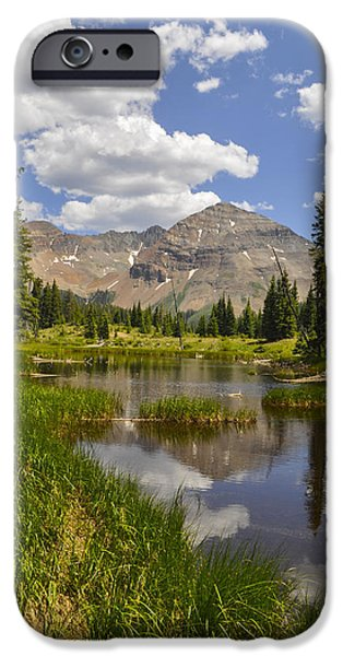 Hesperus Mountain Reflection iPhone Case by Aaron Spong