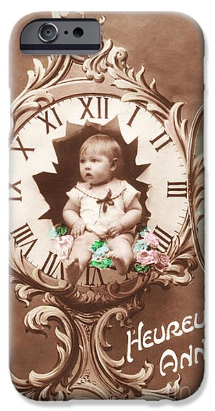 Cards Vintage iPhone Cases - Heureuse annee vintage baby iPhone Case by Delphimages Photo Creations