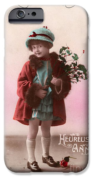 Cards Vintage iPhone Cases - Heureuse annee vintage girl iPhone Case by Delphimages Photo Creations