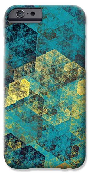 Hexagon Fractal Art Panorama iPhone Case by Andee Design