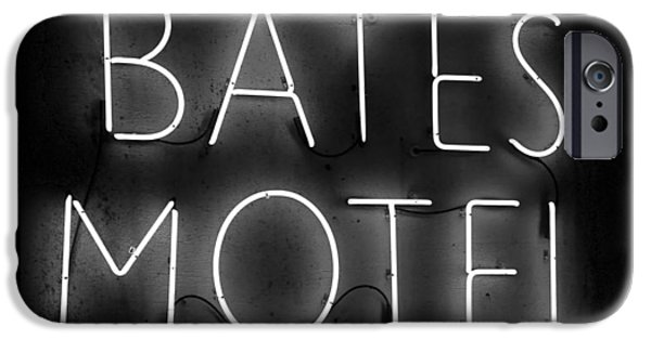 Bates iPhone Cases - HH Bates Motel black and white iPhone Case by David Lee Thompson