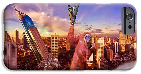 Orangutan Digital Art iPhone Cases - Hi Hunny Im Home iPhone Case by Nigel Follett