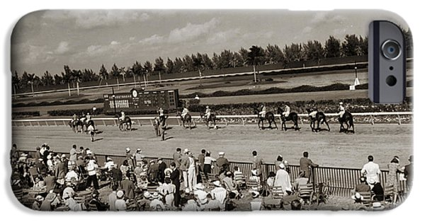 Horse Racing iPhone Cases - Hialeah Park Miami Florida 1930 iPhone Case by Mountain Dreams
