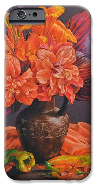 Canna iPhone Cases - Hibiscus and Cannas in Balinese Jug iPhone Case by Fiona Craig