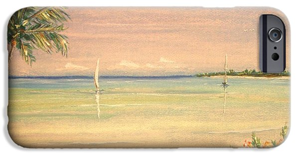 Beach Landscape Pastels iPhone Cases - Hibiscus Cove iPhone Case by The Beach  Dreamer