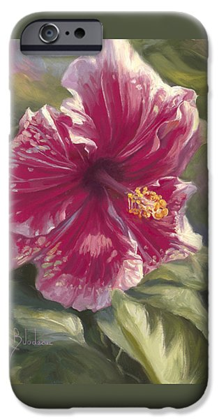 Hibiscus iPhone Cases - Hibiscus In Bloom iPhone Case by Lucie Bilodeau