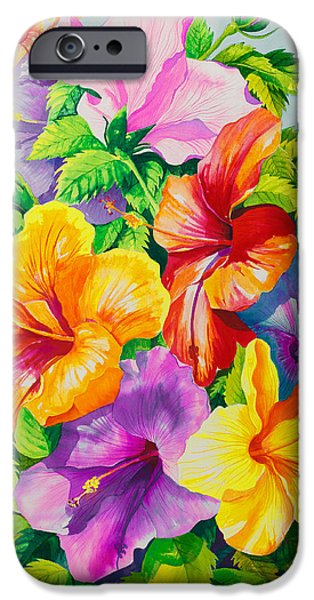Hibiscus iPhone Cases - Hibiscus Rainbow Array iPhone Case by Janis Grau