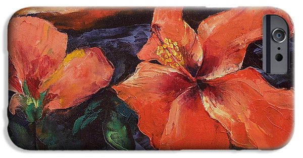Hibiscus iPhone Cases - Hibiscus Volcano iPhone Case by Michael Creese
