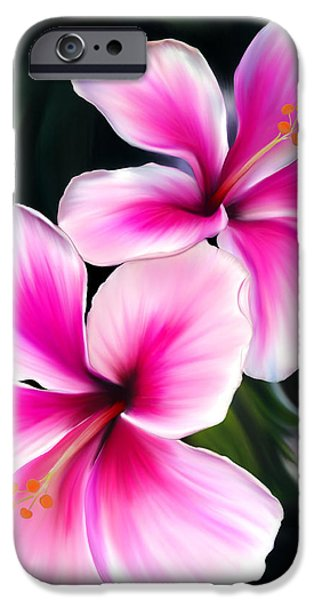 Pink Pastels iPhone Cases - Hibiscuses iPhone Case by Laura Bell
