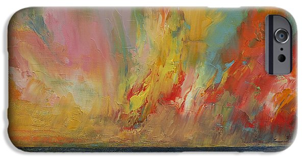 Drama iPhone Cases - Hidden Heart Lava Sky iPhone Case by Michael Creese