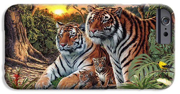 Botanical Photographs iPhone Cases - Hidden Images - Tigers iPhone Case by Steve Read