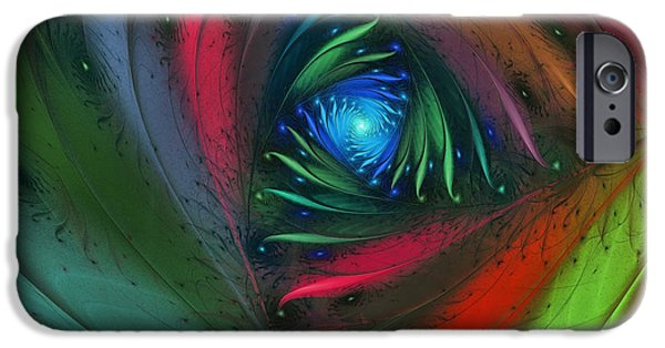 Poetic iPhone Cases - Hidden Jungle Plant-Abstract Fractal Art iPhone Case by Karin Kuhlmann