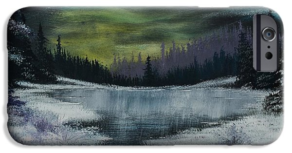 Bob Ross Paintings iPhone Cases - Hidden Lake iPhone Case by Shannon Wells