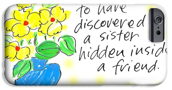Sally Huss iPhone Cases - Hidden Sister iPhone Case by Sally Huss
