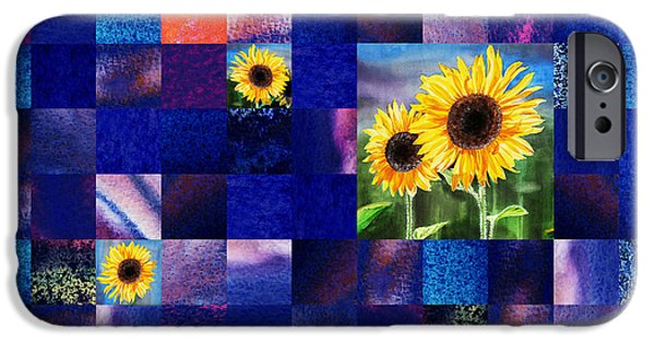 Abstract Digital Paintings iPhone Cases - Hidden Sunflowers Squared Abstract Design iPhone Case by Irina Sztukowski