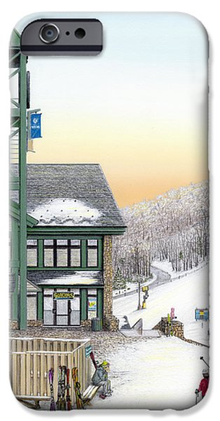 Technology Drawings iPhone Cases - Hidden Valley Ski Resort iPhone Case by Albert Puskaric