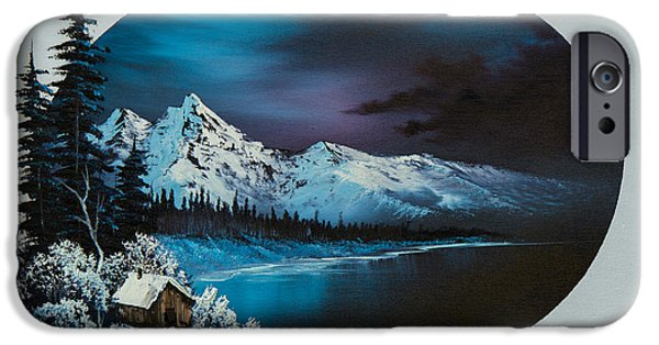 Bob Ross Paintings iPhone Cases - Jack Frost Moon  iPhone Case by C Steele