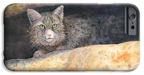 Bobcats Paintings iPhone Cases - Hidey Hole iPhone Case by Renee Chastant