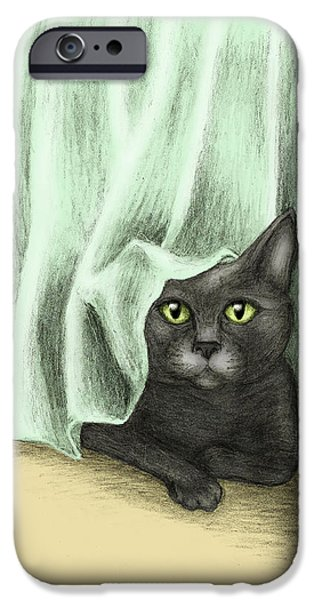 Gray Hair Mixed Media iPhone Cases - Hiding Cat iPhone Case by Tricia Shanabruch