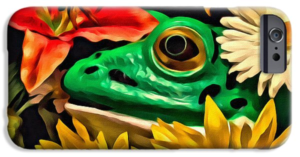 Amphibians iPhone Cases - Hiding Frog iPhone Case by Jeff  Gettis